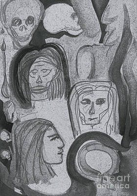 Primitive Drawing - Ancestral Cave Bw By Jrr by First Star Art