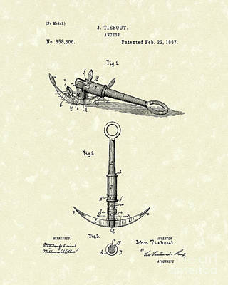 Drawing - Anchor 1887 Patent Art by Prior Art Design