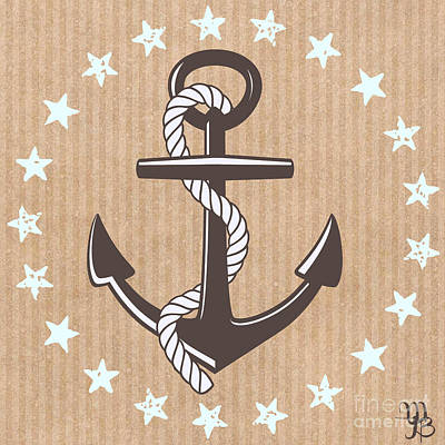 Digital Art - Anchor And Stars by Mindy Bench