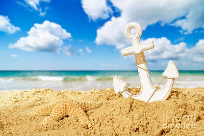 Anchor At The Beach Art Print