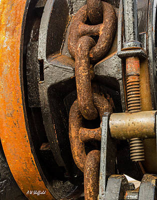 Photograph - Anchor Chain - Tall Ship Elissa by Allen Sheffield