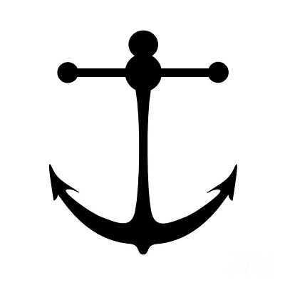 Digital Art - Anchor In Black And White by Jackie Farnsworth