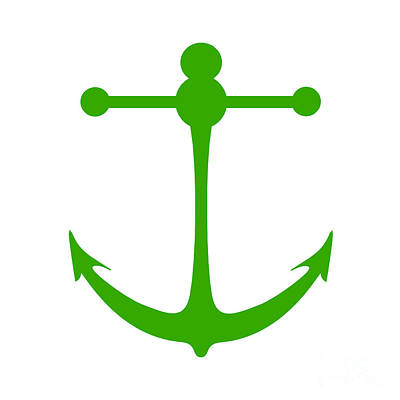 Digital Art - Anchor In Green And White by Jackie Farnsworth