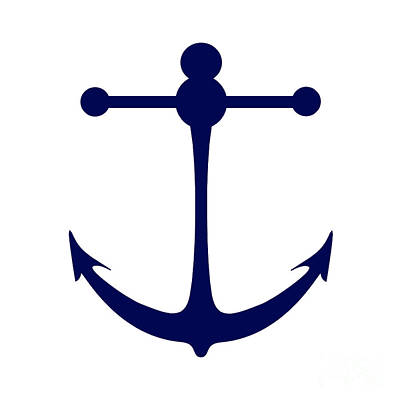 Digital Art - Anchor In Navy And White by Jackie Farnsworth