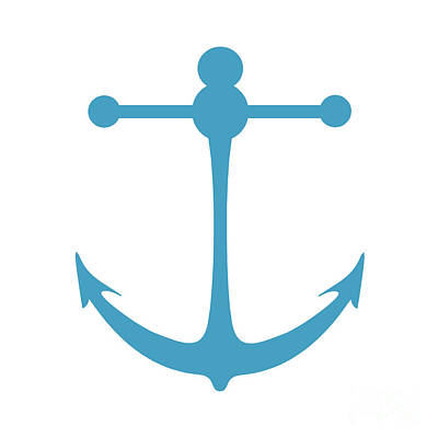 Digital Art - Anchor In Turquoise And White by Jackie Farnsworth