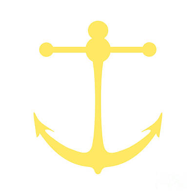 Digital Art - Anchor In Yellow And White by Jackie Farnsworth