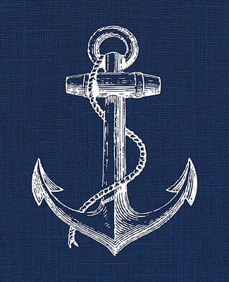 Digital Art - Anchor Nautical Print by Jaime Friedman