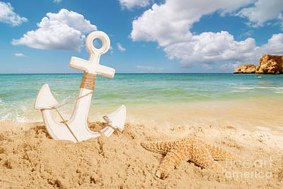 Anchor On The Beach Art Print
