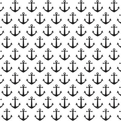 Navy Wall Art - Digital Art - Anchor Pattern Background by Hellena13