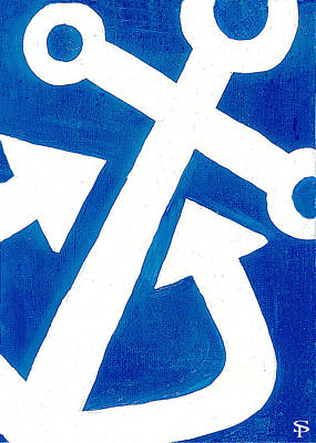 Anchor- Royal Blue Art Print by Catherine Peters