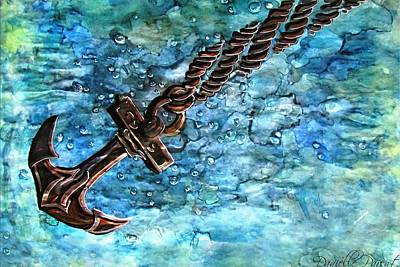 Docking Painting - Anchor Under Water Alcohol Inks by Danielle  Parent