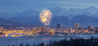 Anchorage Fireworks Four Art Print