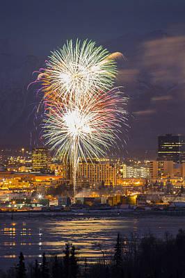 Anchorage Fireworks Nine Art Print by Tim Grams