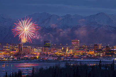 Anchorage Fireworks Six Art Print