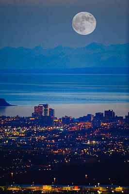 Anchorage Skyline At Sunset With The Art Print by Michael Jones