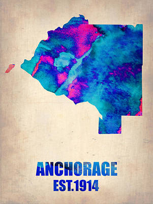 Modern Poster Painting - Anchorage Watercolor Map by Naxart Studio