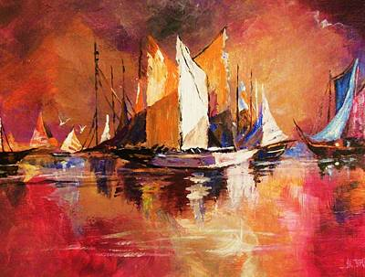 Painting - Anchored At Sunset by Al Brown