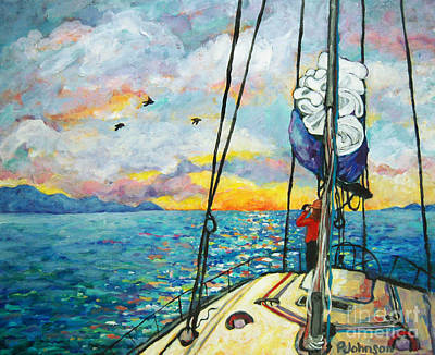 Blue Painting - Anchored At Sunset by Peggy Johnson