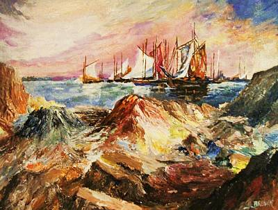 Painting - Anchored By A Rocky Cove  by Al Brown