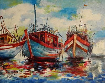 Anchored Art Print by Min Wang