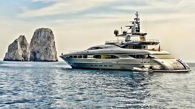 Cabin Cruiser Photograph - Anchored Off Capri Italy by Jon Berghoff