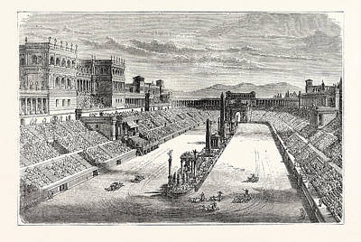 Ancient Arena Restored Showing A Chariot Race Art Print by English School