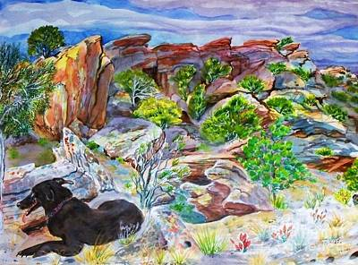 Ancient Camp Ground And Labrador Art Print by Annie Gibbons