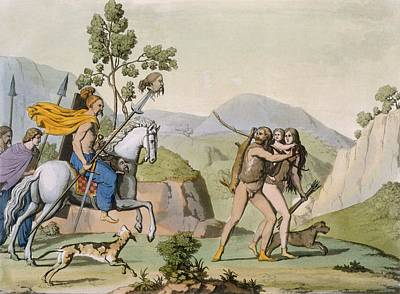 Mountainous Drawing - Ancient Celtic Warriors On A Foray by Italian School