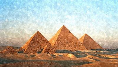 Sphinx Painting - Ancient Egypt The Pyramids At Giza by Gianfranco Weiss
