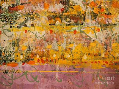 Red Green And Gold Abstracts Painting - Ancient Gardens  by Nancy Kane Chapman