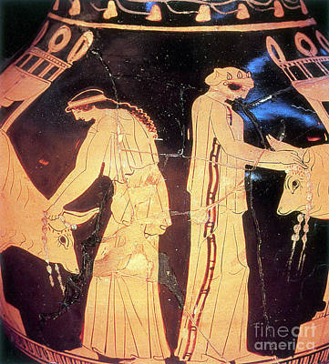 Sacrificial Art Photograph - Ancient Greek Preparation Ofi by Photo Researchers