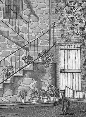 Drawing - Ancient Grey Stone Residence Black And White by Ashley Goforth