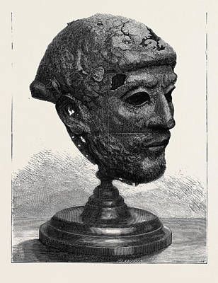 Found Art Drawing - Ancient Iron Mask-helmet Found In The Danube At Semendria by English School