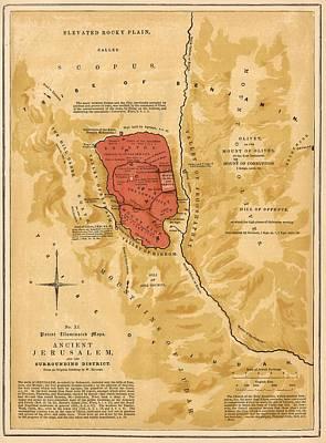 Holyland Digital Art - Ancient Jerusalem Map Printed 1886 by Antique Engravings