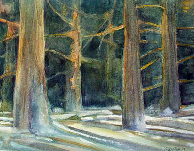 Winter Light Through The Trees Painting - Ancient Light by Grace Keown