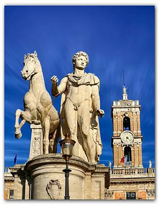 Capitoline Photograph - Ancient Marble Sculpture Of Castor At The Cordonata Stairs  by Stefano Senise