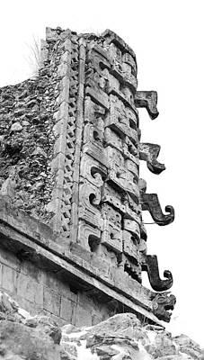 Photograph - Ancient Mayan Glyphs At Uxmal Mexico Black And White by Shawn O'Brien