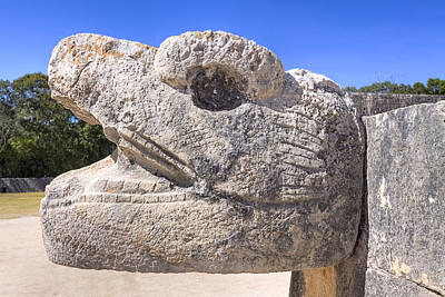 Photograph - Ancient Mayan Serpent At Chichen Itza by Mark E Tisdale
