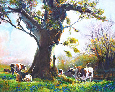 Ancient Oaks And Bluebonnets And Longhorns Art Print by Charles Wallis