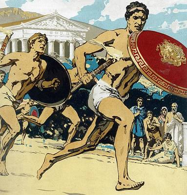 Ran Drawing - Ancient Olympic Games  The Relay Race by Unknown