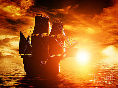 Water Photograph - Ancient Pirate Ship Sailing On The Ocean At Sunset by Michal Bednarek