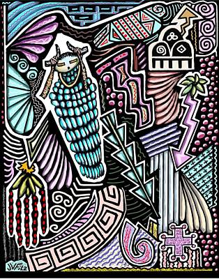 Hopi Drawing - Ancient Rain Spirit by John  Fitzgerald