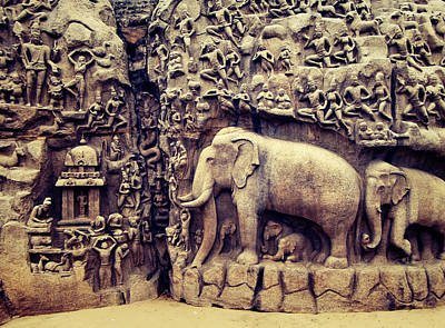 Ancient Rock Sculpture India Art Print by Girish J