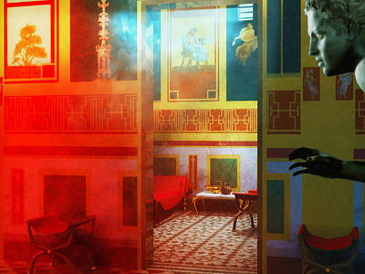 Ancient Roman Oil Lamp Digital Art - Ancient Roman House Interior by Leone M Jennarelli