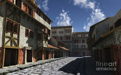 Midday Digital Art - Ancient Roman Street by Fairy Fantasies