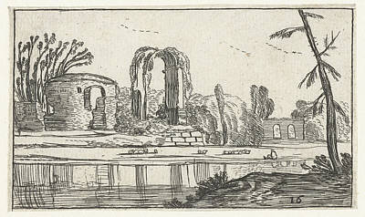 Ancient Ruins In A River, Esaias Van De Velde Print by Artokoloro
