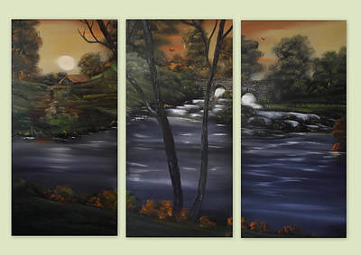 Wet-on-wet-technique Painting - Ancient Rustic Outlook Triptych by Cynthia Adams