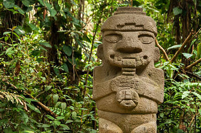 San Agustin Photograph - Ancient Statue Playing The Flute by Jess Kraft