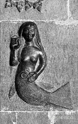 Pagan Nude Photograph - Ancient Stone Carving Of Mermaid Inside Clonfert Cathedral Ireland by David Lyons