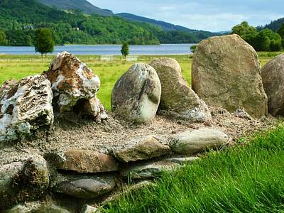 Wild Horse Paintings - Ancient Stone Wall At Loch Achray by Joan-Violet Stretch